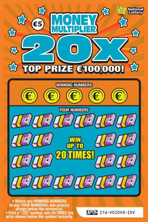 money multiplier 20X scratchcard