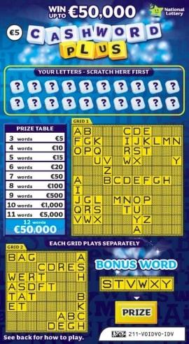 cashword plus scratchcard