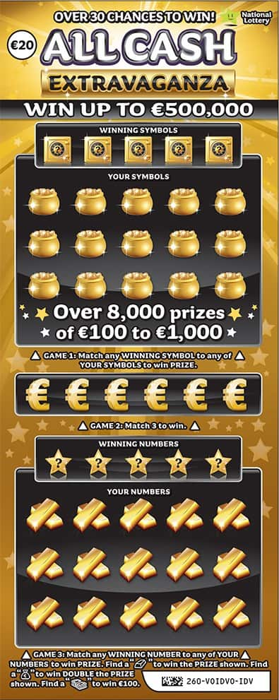 all cash extravaganza gold €20 scratchcard